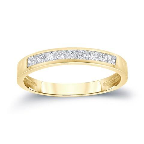 Auriya 14k Gold 1/5ctw Princess Cut Diamond Channel Wedding Band
