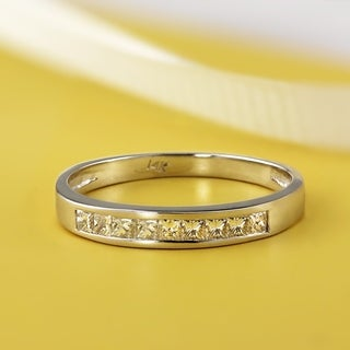 Auriya 14k Gold 1/5ct TDW Channel-Set Princess-Cut Diamond Wedding Ring