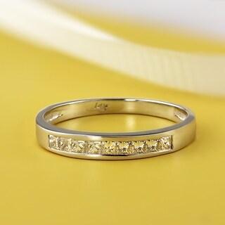 Auriya 14k Gold 1/5ct TDW Channel-Set Princess-Cut Diamond Wedding Ring