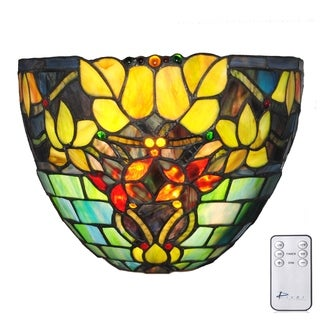 River of Goods 9.25-inch Tiffany Style Stained Glass Hampstead Wireless LED Wall Sconce
