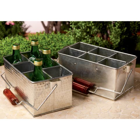 Set of 2 Galvanized Metal Bottle / Utensil Holders