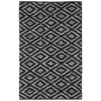 Black & White Diamonds (5'x8') Leather Chindi Rug