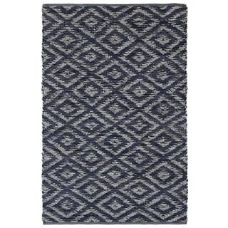 Blue & White Diamonds (4'x6') Leather Chindi Rug