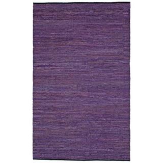 "Purple Matador Leather Chindi (21""x34"") Rug"