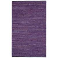 "Purple Matador Leather Chindi (21""x34"") Rug - 21 x 34"