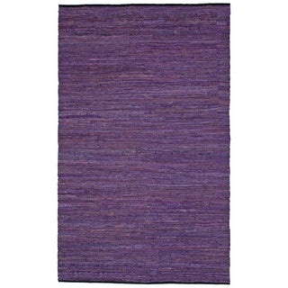 "Purple Matador Leather Chindi (21""x34"") Rug - 21 x 34"