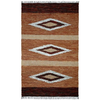 "Brown Matador Diamonds Leather Chindi (21""x34"") Rug - 1'9"" x 2'10"""