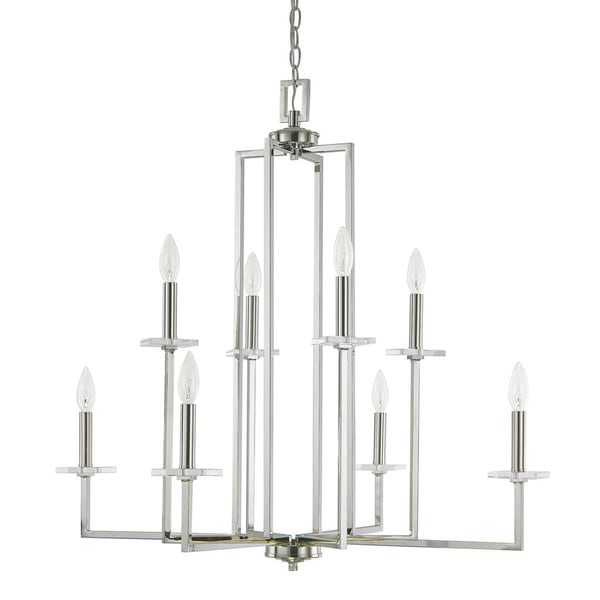 Capital Lighting Morgan Collection 8 Light Polished Nickel Chandelier