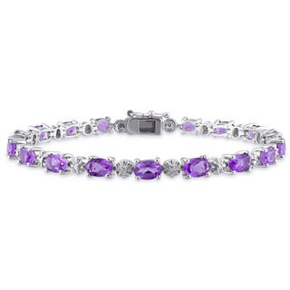 Miadora Sterling Silver Amethyst and Diamond Accent Tennis Bracelet