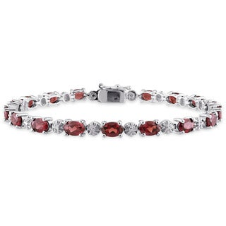 Miadora Sterling Silver Garnet and Diamond Accent Tennis Bracelet