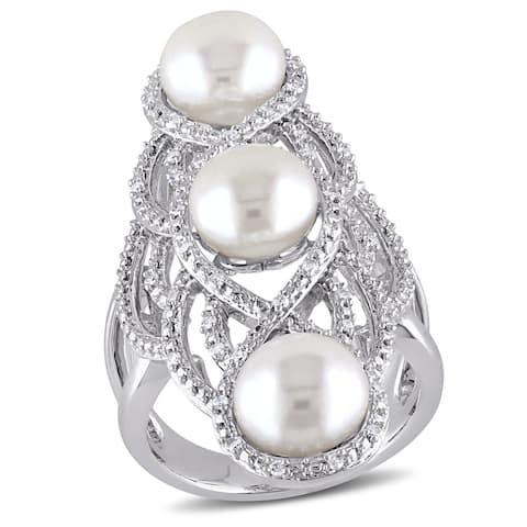 Miadora Sterling Silver Cultured FW White Pearl and 1/5ct TDW Diamond Vintage Long Finger Ring (G-H,