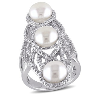 Miadora Sterling Silver Cultured FW White Pearl and 1/5ct TDW Diamond Vintage Long Finger Ring (G-H, I2-I3)