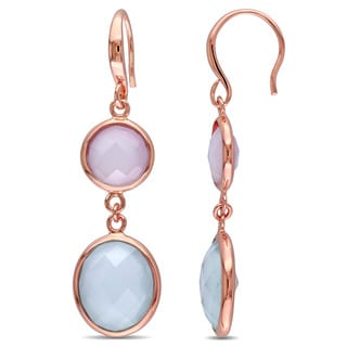Miadora Rose Plated Sterling Silver Green and Pink Chalcedony Dangle Earrings