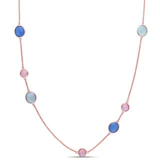 Miadora Rose Plated Sterling Silver Blue, Green and Pink Chalcedony Station Necklace