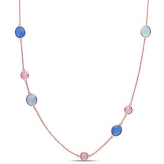 Miadora Rose Plated Sterling Silver Blue, Green and Pink Chalcedony Station Necklace|https://ak1.ostkcdn.com/images/products/10594391/P17667920.jpg?impolicy=medium