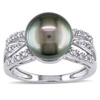 Miadora Signature Collection 14k White Gold Tahitian Pearl and 1/8ct TDW Diamond Ring (G-H, I1-I2)(1