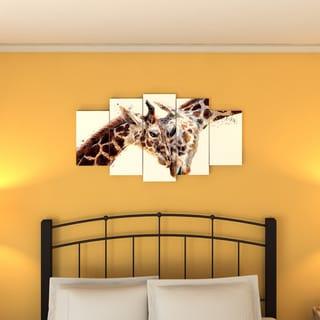 Design Art 'Loving Giraffes' Canvas Art Print - 60Wx32H Inches - 5 Panels