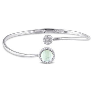 Miadora Sterling Silver Prehnite, White Topaz and Diamond Accent Circle Cuff Bangle Bracelet