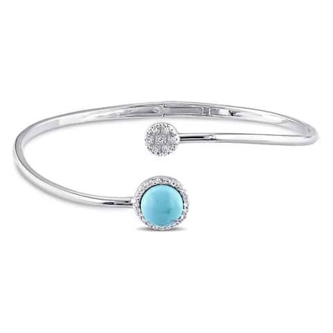 Miadora Sterling Silver Turquoise, White Topaz and Diamond Accent Circle Cuff Bangle Bracelet