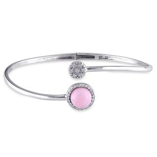 Miadora Sterling Silver Pink Opal, White Topaz and Diamond Accent Circle Cuff Bangle Bracelet
