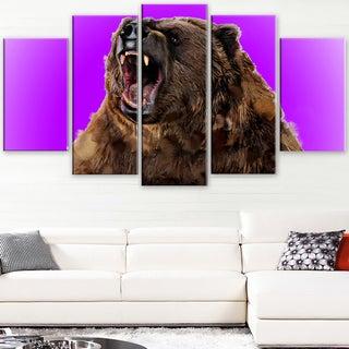Design Art 'Fierce Grizzly - Purple' Canvas Art Print - 60Wx32H Inches - 5 Panels
