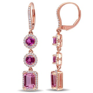 Miadora Signature Collection 14k Rose Gold Tourmaline and 1/2ct Diamond 3-tiered Dangle Earrings (G-H, I1-I2)