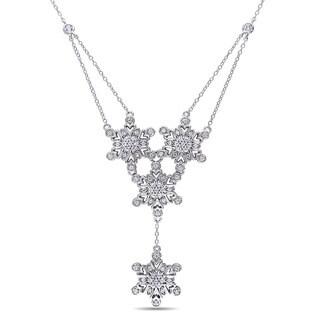 Miadora Sterling Silver Created White Sapphire Star Necklace