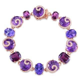 Miadora Signature Collection 14 Rose Gold Multi-Gemstone 3/4ct TDW Diamond Swirl Link Bracelet (G-H, SI1-SI2)