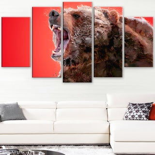 Design Art 'Beware of the Bear - Red' Canvas Art Print - 60Wx32H Inches - 5 Panels