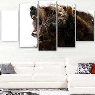 Design Art 'Beware of the Bear' Canvas Art Print - 60Wx32H Inches - 5 Panels