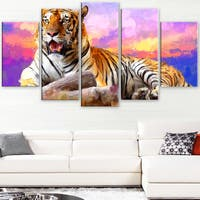 Design Art 'King of Tigers' Canvas Art Print - 60Wx32H Inches - 5 Panels