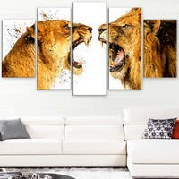 Design Art 'Lion Argument' Canvas Art Print - 60Wx32H Inches - 5 Panels