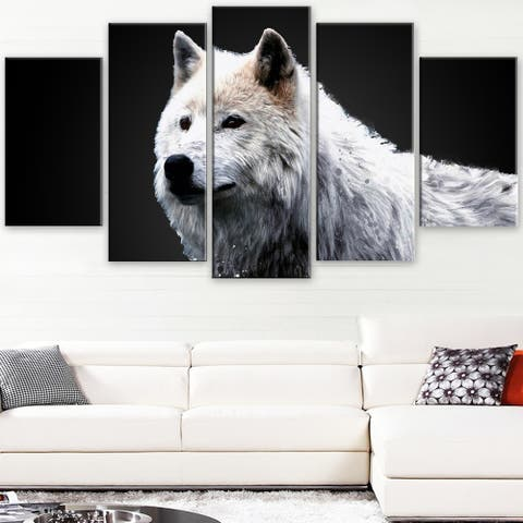 Design Art 'Wonder of the Wolf' Canvas Art Print - 60Wx32H Inches - 5 Panels