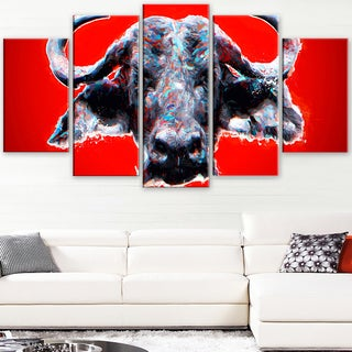 Design Art 'Angry Bull - Red' Canvas Art Print - 60Wx32H Inches - 5 Panels