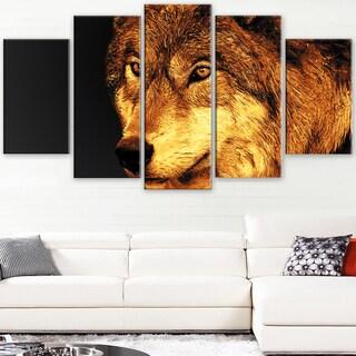 Design Art 'Eyes of a Predator' Canvas Art Print - 60Wx32H Inches - 5 Panels