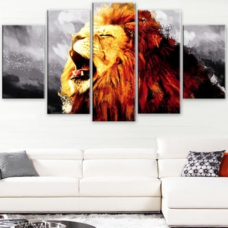 Design Art 'Roaring Lion - Grey' Canvas Art Print - 60Wx32H Inches - 5 Panels