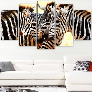 Design Art 'Zebra Trio' Canvas Art Print - 60Wx32H Inches - 5 Panels