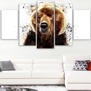 Design Art 'Brown Bear - White' Canvas Art Print - 60Wx32H Inches - 5 Panels