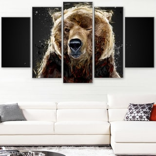 Design Art 'Brown Bear - Black' Canvas Art Print - 60Wx32H Inches - 5 Panels
