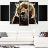 Design Art 'Brown Bear - Black' Canvas Art Print - 60Wx32H Inches - 5 Panels - Brown
