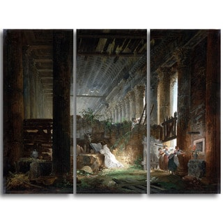 Design Art 'Hubert Robert - Praying in the Ruins of a Roman Temple' Canvas Art Print - 36Wx32H Inches - 3 Panels