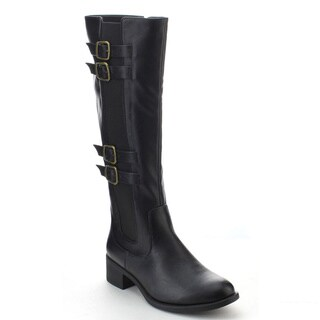 DAVICCINO AA00 Women's Side Zip Buckle Strap Elastic Knee High Riding Boots