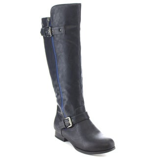 Wild Diva TOSCA-187A Women's Knee High Flat Buckle Zipper Riding Boots