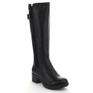 DAVICCINO AA03 Women's Side Zip Buckle Strap Elastic Knee High Riding Boots