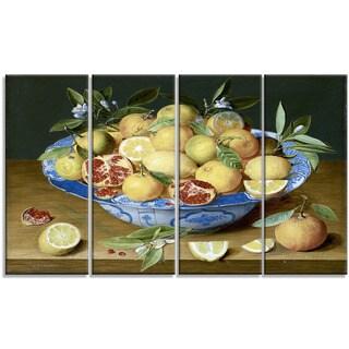 Design Art 'Jacob van Hulsdonck - Still Life with Lemons' Canvas Art Print - 48Wx28H Inches - 4 Panels