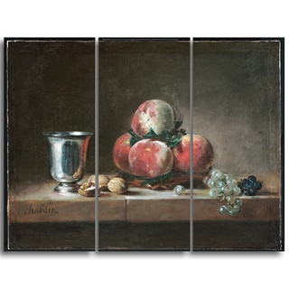 Design Art 'Jean Simeon Chardin - French Still Life' Canvas Art Print - 36Wx32H Inches - 3 Panels