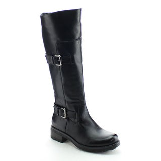 DAVICCINO AA06 Women's Buckle Strap Side Zip Flat Heel Knee High Riding Boots