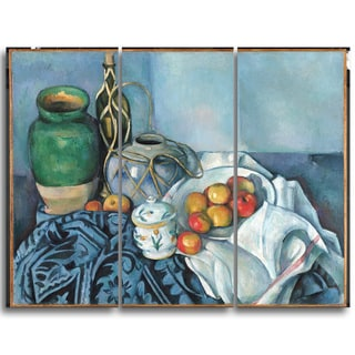 Design Art 'Paul Cezanne - Still Life with Apples' Canvas Art Print - 36Wx32H Inches - 3 Panels