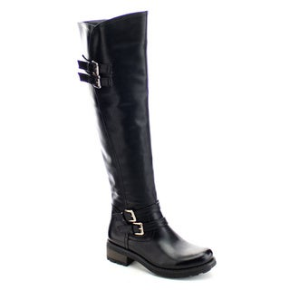 DAVICCINO AA07 Women's Buckle Strap Flat Heel Over The Knee High Riding Boots