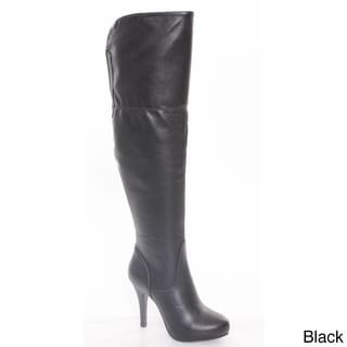 Refresh AA21 Women's Side Zip Stiletto Elastic Almond Toe Over Knee High Boots
